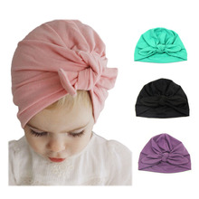 Cotton Baby Hat with Knot Newborn Photography Props Candy Color Baby Beanie Infant Girls Boys Cap Accessories 1 PC(China)
