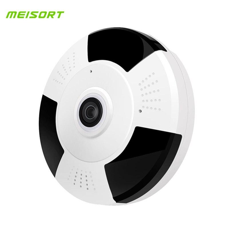 Meisort 1080P HD Wifi IP Camera 360 Degree Wireless Fisheye Panorama Camera IR Night Vision Home Security Surveillance Camera  <br>