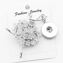 4 Styles  High quality brooch Snap button Jewelry  butterfly Dance skull gift for girls women  (fit 18mm 20mm snaps ) XJ202