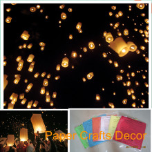 50pcs/lot Cylinder Shape FLame Resistant Biodegradable Paper Luminaria Sky Lanterns Wedding Party Events Decoration