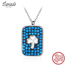 Dorado Cute 925 Silver Jewelry Rectangle Hollow Clover Pendant Inlaid Full Blue Bead Choker Necklace for Women