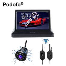 Wireless 5 Inch Foldable Car Rearview Monitor for Backup Reverse Camera 8 LED Waterproof 170 Degree Night Vision Car-styling