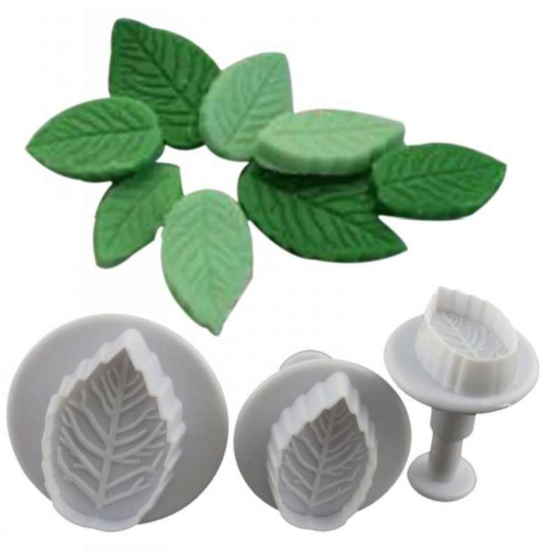 3Pcs/set Cake Rose Leaf Plunger Fondant Decorating Sugar Craft Mold Cutter Tools Baking Pastry Tools