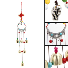 Cheap Vintage Home Decor Lucky Elephant Wind Chimes Copper 6 Bells Outdoor Living Yard Garden Decor Windchimes(China)