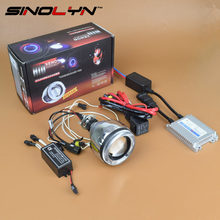 SINOLYN 2.3'' Motorcycle CCFL Angel Eyes Halo HID Bi-xenon Projector Lens Headlights Retrofit Lamp Kit DIY 4300K 6000K 8000K