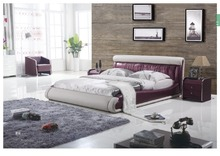 Modern round leather bed designs with 7 remote colors light(China)