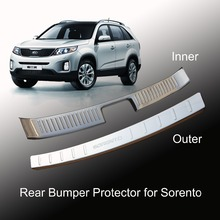 High Quality Stainless steel Rear Bumper Protector Step Door Sill Plate Trunk Trim Accessories 2pcs for 2013 2014 KIA Sorento(China)