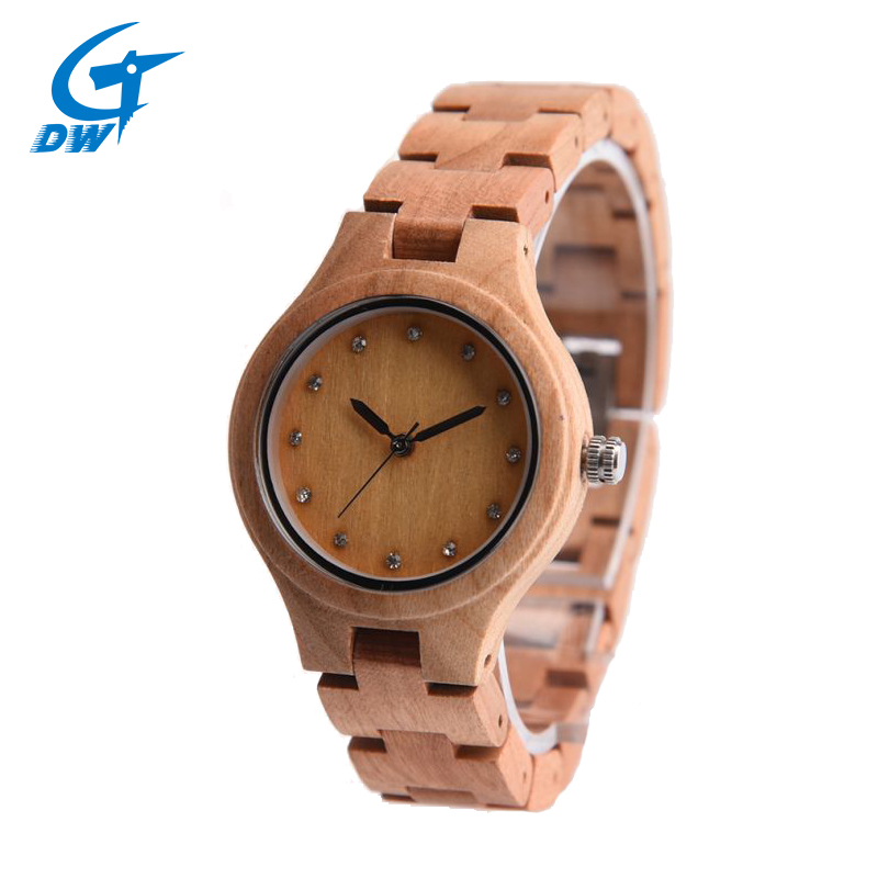 DWG Brand New Wooden Watch Japan Quartz Movement Rhinestone Lady Fashion Wrist Watches for Women Natural Solid Wood Strap Clock<br>