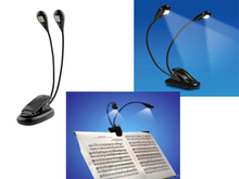 Dual Arm 2 LED Flexible Stand Book Laptop Light Lamp For Pianos Orchestra Pit Schools Clubs