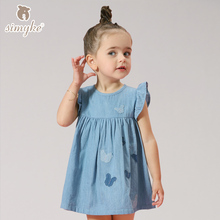 Child Girls Dresses Jeans Blue Dress For Little Girl Summer Clothes 2017 New Girls Clothing Kids Children Clothes W68050
