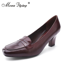 Women Pumps Shoes 2017 Brand Genuine Leather High Heels Women Dress Shoes for women Office Square Toe Big Size lady shoes 9103-1(China)