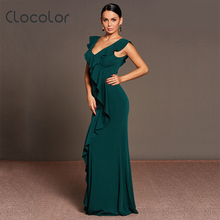 Buy Clocolor Women Green Dress V Neck Summer Female Ankle Length Elegant Ruffled Collar Backless Butterfly Sleeve Sexy Club Dresses for $12.81 in AliExpress store