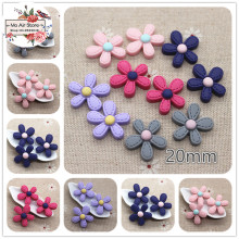 20pcs mix color Resin flower Cabochon Flatback craft for Scrapbooking hair bow center For DIY craft 20mm
