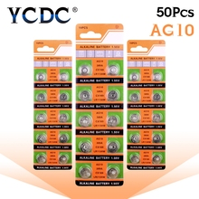 Cheap 50 Pcs AG10 G10A SR1130 LR1130 390A D189 LR54 Alkaline Battery Button Cell Coin Hot selling(China)