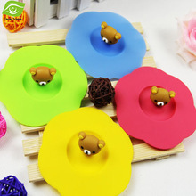 5pcs/Lot Cute Silicone Cup Cover Sealed Anti Dust Cartoon Cup Lid Heat-Resistant Coffee Mug Cover Multi Color