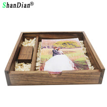SHANDIAN customer LOGO Unique Album Spades wooden Box Memory stick Pendrive 8GB 16GB 32GB Photography Wedding (170*170*35 mm)(China)