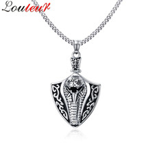 LOULEUR 2017 Cobra Snake Shape Necklaces & Pendants for Men Antique Silver Color Stainless Steel Male Necklace Punk Jewelry(China)