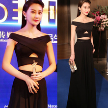 Gorgeous Two Piece Black Evening Gowns Crop Top Hollow Back Dresses Evening Wear Ruffles Chiffon Robe De Soiree