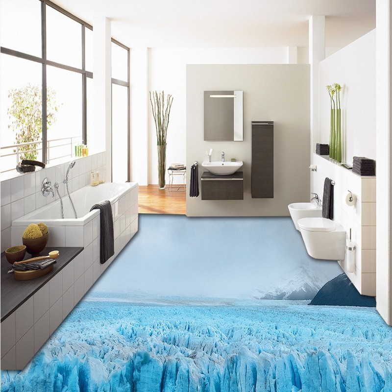 Free Shipping custom 3D outdoor glacier floor stickers self-adhesive waterproof non-slip bathroom flooring wallpaper mural<br><br>Aliexpress