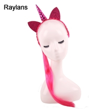 Raylans Kids Girl Hairband Unicorn Wig Braid Hair Clasp Child Oranment Costume Hair Accessories