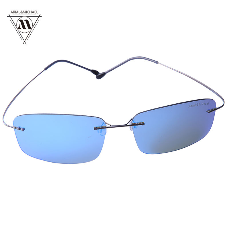 Arial&amp;Michael Men Rectangle Sunglasses Anti-Glare Eye Protection HD Polarized Blue Nylon Lens Titanium Bridge Sun glasses 8206<br><br>Aliexpress