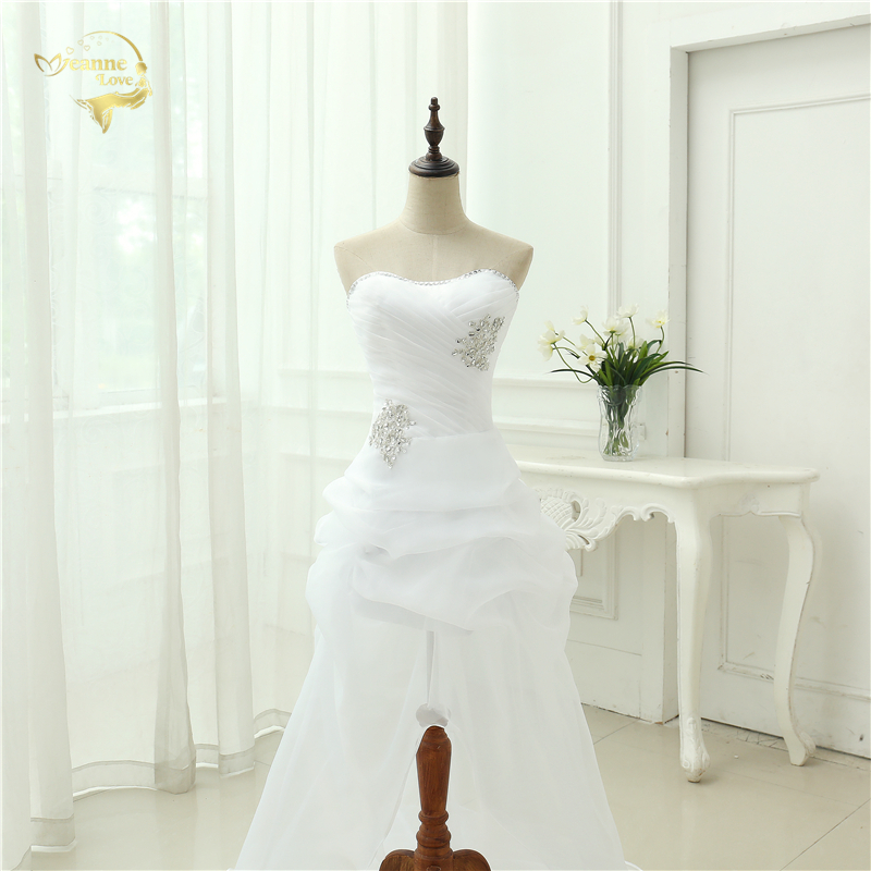 Vestido De Noiva 2017 New Shiny Organza Women Bride Sweetheart Beading Front Short Back Long White Ivory Wedding Dresses OC3399 6
