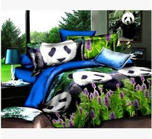 Home Textiles 3D Bedclothes Beautiful Panda 4PCS Bedding Set  King Or Queen