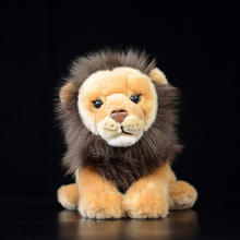 18cm Lifelike Soft Lion Plush Toys Simulation African Lion Stuffed Dolls Stuffed Wild Animal Toys For Children(China)