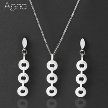 A&N Silver Stainless Steel Jewelry Set For Women Black&White Ceramic Necklace & Earrings Cute Noble Delicate Wedding Jewelry Set