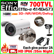 Power+bracket Gift!1/3Sony Ccd 700tvl Effio cctc hd camera Osd function outdoor waterproof IP66 surveillance products home Video