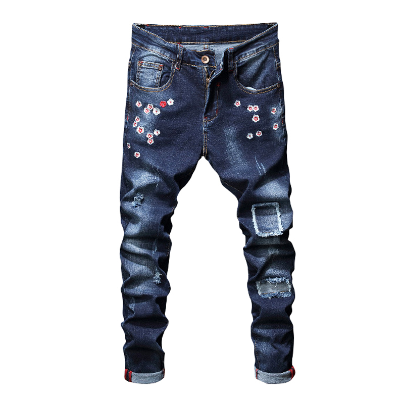 Flower Embroidery Jeans Men Denim Trousers Men Slim Fit Ripped Jeans Pant Men Pantalon Jean Homme  stretchyJeans Masculino