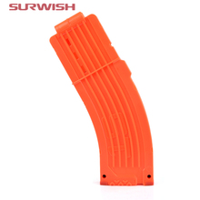 Surwish AK Model Curve Soft Bullet Clips For Nerf Toy Gun 15 Bullets Ammo Cartridge Dart for Nerf Gun Clips - Orange