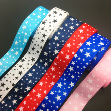 Wholesale 5 Yards 1Inch 25mm Wide Stars Printed Grosgrain Ribbon Hair Bow/Christmas/wedding DIY Sewing Craft #010(China)