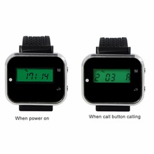 2 pcs Wireless Watch Wrist Receive Call Coaster Pager System For Restaurant Factory Coffee Restaurants Equipments 433MHz F3300A