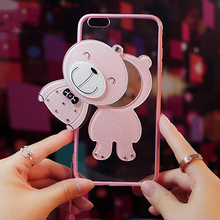 4.7-5.5 inch Girls Luck Bear Makeup Freshen Up Mirror Inside Cute Plastic Pink Color Phone Case for iphone 6 6S 7 7Plus Oppo R9