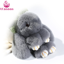 UCanaan 13CM Furs Rabbit Stuffed Plush Toys With Ring Pendant Bag Car Charm Tag Mini Soft Suffed Toy Doll Fur Monster Keychain
