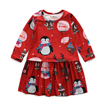 qz913 kimocat Rapunzel Princess Girl Long Sleeve O-Neck Dresses Red Snowman Print Matching Clothes Kid New Year Toddler Clothing