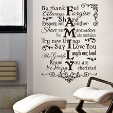 Family Rules quotes wall stickers removable home living room bedroom wall sticker Decals Home Decoration Mural(China)