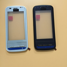 For Nokia C6-00 White / Black Touch Screen Panel Digitizer Glass Lens Repair Parts + Frame Bezel Housing Tracking Number