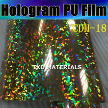Premium Hologram PU Vinyl for heat transfer with high quality with size:50CMX100CM by free shipping CDU-18 Crystal gold Color