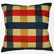 EA213 Yellow Blue Red Plaid A grade 100% Cotton Canvas Cushion Cover Pillow Case (Custom Size)