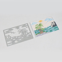 139x99mm Beach Scene View Frame Metal Dies Cutting Decorative Scrapbooking Steel Craft Die Create Stamp Embossing Card Stencil(China)