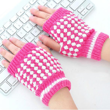Hot Selling Winter Warm Knitted Fingerless Gloves Pineapple Pattern Half Finger Gloves Mittens Women Fashion Accessory Gifts(China)