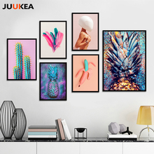 New Modern Fashion Pineapple Bananas Feathers Naked Women, Canvas Print Painting Poster Wall Pictures For Living Room Home Decor(China)