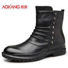 Aokang 2017 Winter  Men Boots Genuine leather boots Black Brown  Men Ankle Boots Fashion British Style Male Boots Free shipping