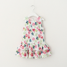 2016 Summer Girl Printing Flowers Dress European Style Cotton Cake Childrens Dresses 2-6Y  Brand Girl Clothing
