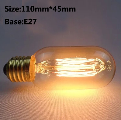 E27 40W Retro Edison Filament Bulb T45 Wire drawing Light Decorative Lamp 110V 220V(China)