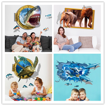 [SHIJUEHEZI] Creative 3D Wall Stickers Vinyl Material DIY Removable Animal Mural Art for Living Room Kids Rooms Decoration(China)