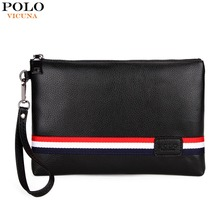 VICUNA POLO Personalized Striped Mens Clutch High Quality PU Leather Men Clutch Bags Brand Casual Large Capacity Male Wallets
