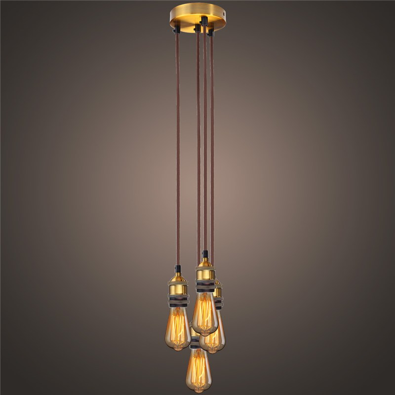 1.8M 4x Heads Vintage Industrial Pendant Light Lamp Cluster Restaurant Home Drcor E27 Lamp Holders<br>